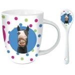 Pucker Up Comic Horse Mug and Ceramic Spoon Set t e